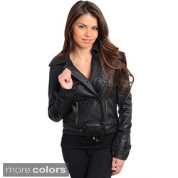 Stanzino Women's Slim Fit Leatherette Double Breasted Jacket