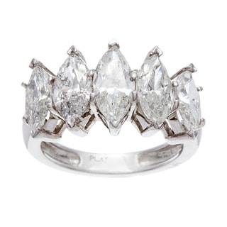 Platinum 3 4/5ct TDW Diamond 5-stone Ring (H-I, I1-I2)