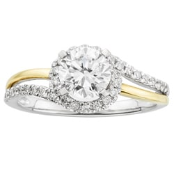 14k Gold 1 1/4ct TDW Certified Diamond Two Tone Halo Engagement Ring (H-I, I1)