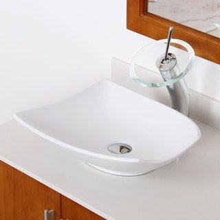 Elite High Temperature Grade A Ceramic Bathroom Sink with Trapeziform Design and Chrome Finish Waterfall Faucet Combo