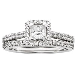 Sofia 14k White Gold 1ct TDW Certified Diamond Princess Cut Halo Bridal Set (H-I, I1)