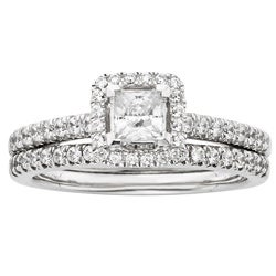 14k White Gold 1ct TDW Certified Diamond Princess Cut Halo Bridal Set (H-I, I1)