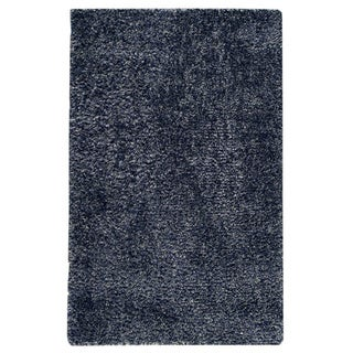 Hand-woven Mali Blue Wool/ Polyester Rug (5' x 8')