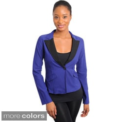 Stanzino Women's Wide Collar Fitted Blazer