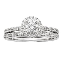 14k White Gold 1ct TDW Certified Diamond Halo Bridal Ring Set (H-I, I1)