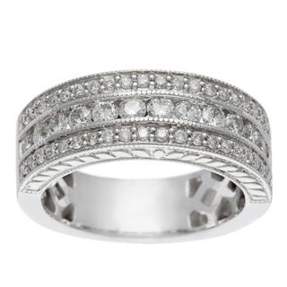 14k White Gold 1ct TDW Certified Multi Row Diamond Band (H-I, I1-I2)