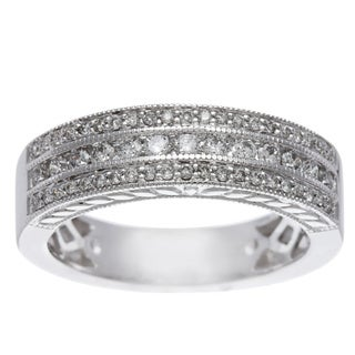 14k White Gold 1/2ct TDW Certified Triple Row Diamond Band (H-I, I1-I2)