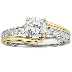 14k White Gold 1 1/4ct TDW Certified Two Tone Diamond Engagement Ring (H-I, I1-I2)