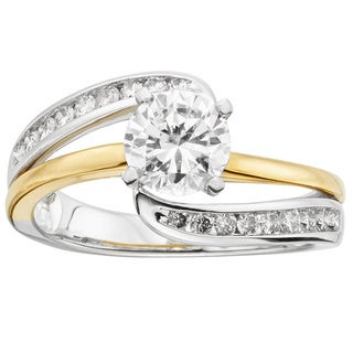 14k Two-tone Gold 1 1/4ct TDW Certified Round Diamond Engagement Ring (H-I, I1)