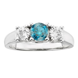 14k Gold 1ct TDW Certified Three Stone Blue and White Diamond Ring (H-I, I1-I2)