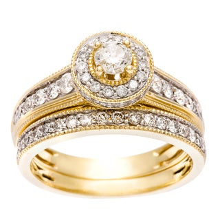 14k Yellow Gold 1ct TDW Certified Diamond Halo Bridal Set (H-I, I1-I2)