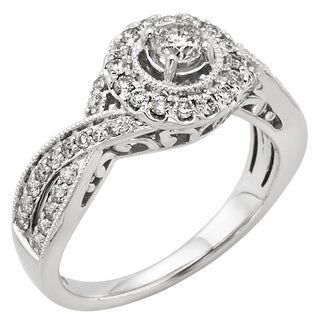 14k White Gold 3/4ct TDW Round Certified Diamond Twist Shank Ring (H-I, I1-I2)