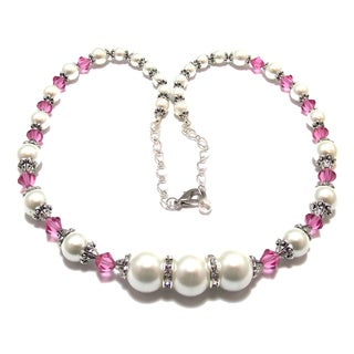 Silverplated White Glass Pearl and Rose Pink Crystal Jewelry Set