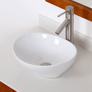 Elite High Temperature Grade A Ceramic Bathroom Sink with Unique Oval Design and Bushed Nickel Finish Faucet Combo