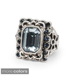 Sweet Romance Bronzetone or Silvertone Crystal and Glass Ring