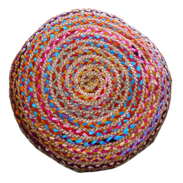 Celebration Hand-woven Jute and Cotton Multi Chindi Braided 24-inch Floor Pillow