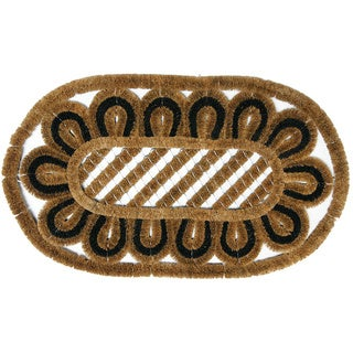 Rubber-Cal 'Gorgan' Outdoor Half-round Coco Mat (18 x 30)