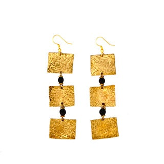 Three Lily Black Square Earrings (Kenya)