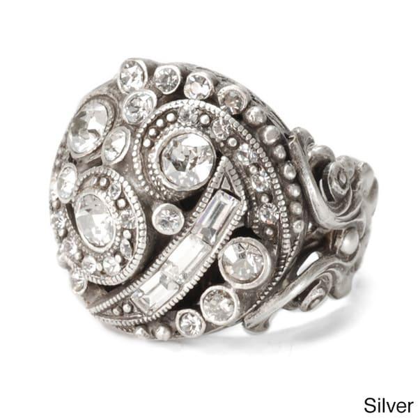 Sweet Romance 1920s Crystal Deco Swirl Ring