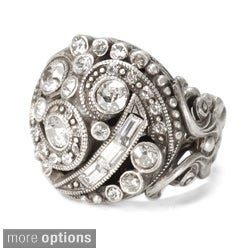 Sweet Romance 1920s Crystal Deco Swirl Ring
