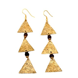Three Lily Black Triangle Earring (Kenya)