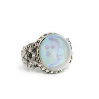 Sweet Romance Silvertone Opalescent Moon Carved Glass and Crystal Ring