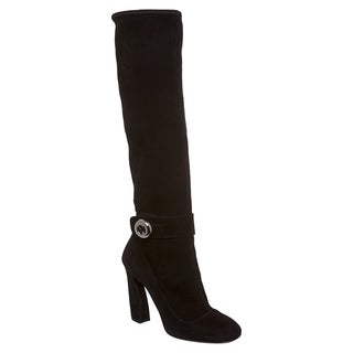 Prada Women's Black Suede Knee-high Button Boots