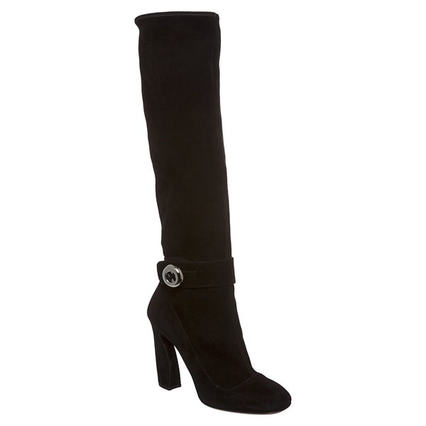 Prada Women's Black Suede Knee-high Button Boots