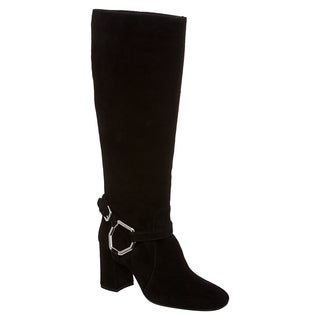 Prada Women's Black Suede Harness Riding Boots