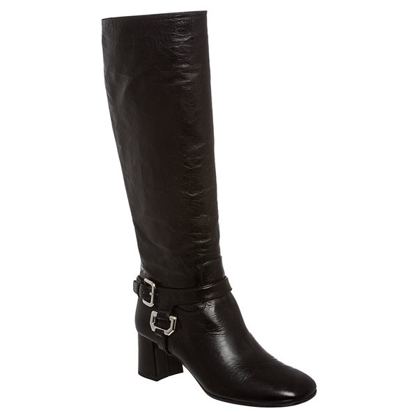 Prada Women's Distressed Black Leather Harness Knee-high Boots