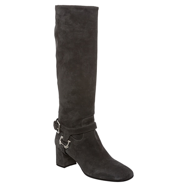 Prada Women's Grey Suede Harness Knee High Boots