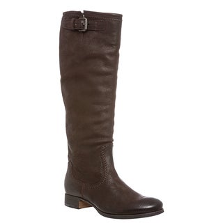 Prada Women's Dark Brown Tall Pebbled Leather Riding Boots