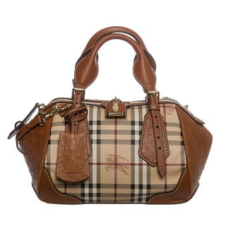 Burberry 'Blaze' Small Tan Haymarket Satchel