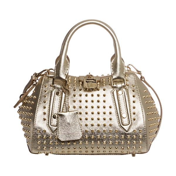 Burberry 'Blaze' Small Gold Leather Studded Satchel