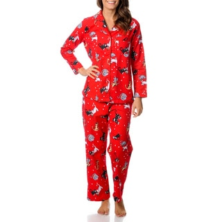 La Cera Women's Kitty Kat Print Pajama Set