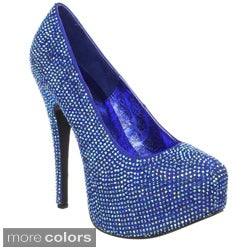 Bordello Women's 'Teeze-06R' Rhinestone Platform Pumps