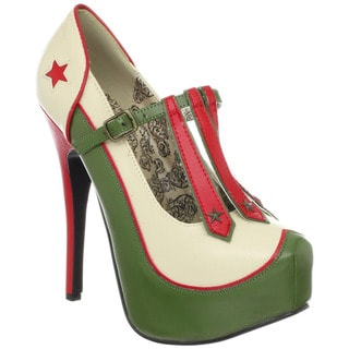 Bordello 'TEEZE-43' Women's Military-themed T-strap Pumps