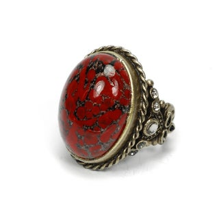 Sweet Romance Bronzetone Scarlet Czech Glass Oval Ring