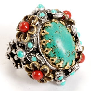 Sweet Romance Two-tone Turquoise and Coral Enamel Mojave Desert Ring