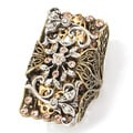 Sweet Romance Bronzetone Crystal Elongated Floral Ring