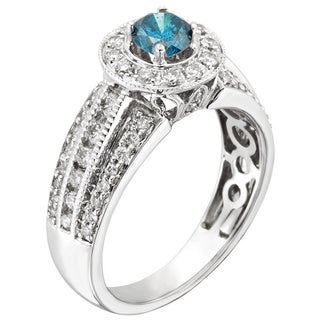14k Gold 1ct TDW Certified Prong-set Blue Diamond Engagement Ring (H-I, I1-I2)