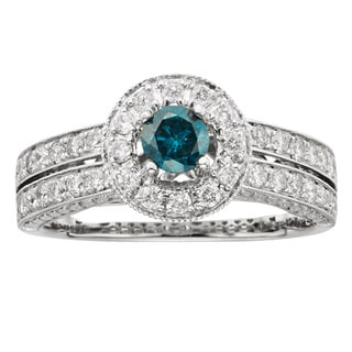 14k Gold 1ct TDW Certified Blue Pave-set Diamond Engagement Ring (H-I, I1-I2)