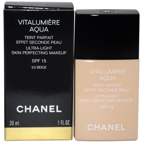 Chanel Vitalumiere Aqua Ultra-Light Beige Ambre #50 Skin Perfecting Makeup