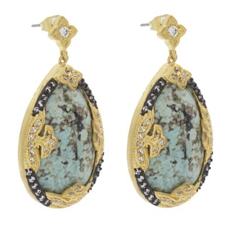 NEXTE Jewelry Rhinestone Accent Turquoise Tear Drop Earrings