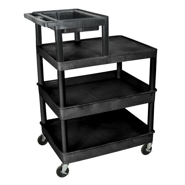 Offex Black Rolling 4 Tub Flat Shelf Plastic Service Utility Cart With Casters