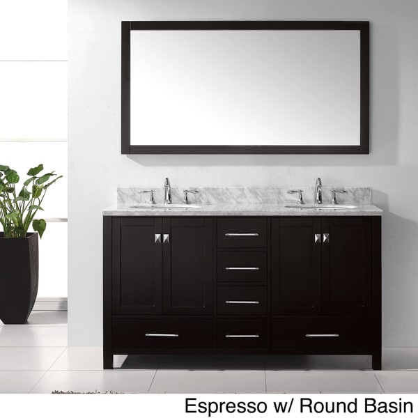 Virtu USA Caroline Avenue 60inch Double Sink Bathroom Vanity Set