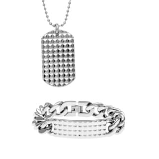 Stainless Steel Men's Studded 2-piece Jewelry Set