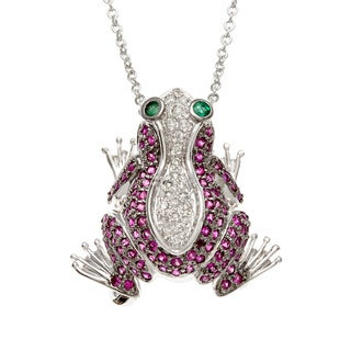 Kabella Luxe 18k White Gold Emerald Sapphire Diamond Crouching Frog Brooch and Pendant
