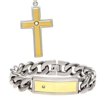 Stainless Steel Men's Cubic Zirconia 2-piece Jewelry Set