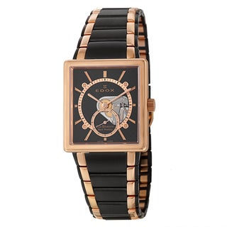 Edox Men's 'Les Bemonts' Black and Rose-gold PVD-coated Swiss Manual Watch